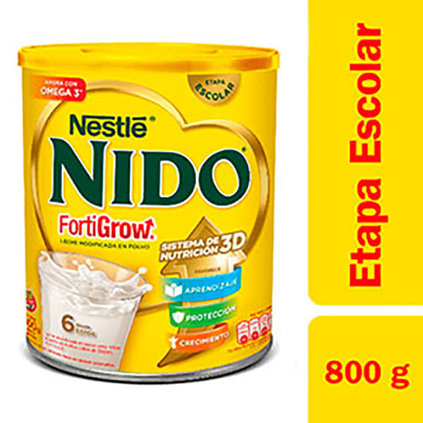 NIDO LECHE FORT GROW LATA X800G